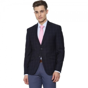 Van Heusen Checkered Single Breasted Formal Men Blazer(Dark Blue)