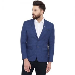 Canary London Checkered Single Breasted Casual Men Blazer(Blue)