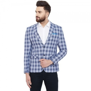 Canary London Checkered Single Breasted Casual Men Blazer(Grey)
