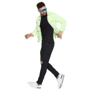 FUGAZEE Neon Long Sleeve Denim Jacket