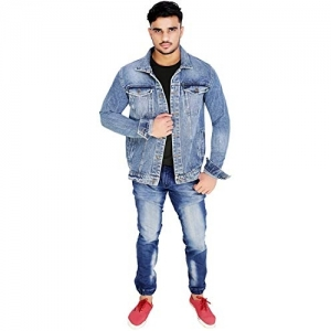 Gadgets Blue  Pockets Fitted Buttoned Long Sleeve Denim Jacket