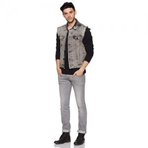 ABOF Grey Sleeveless Solid Jacket