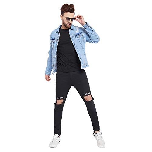 FUGAZEE Blue Long Sleeve Damaged Denim Jacket