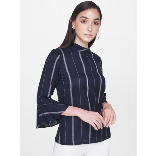 AND Women Navy Blue & White Striped Regular Top