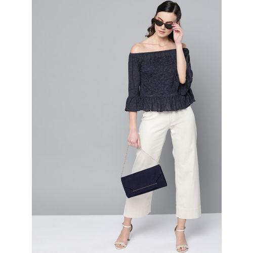 Trend Arrest Women Navy Blue Self Design Bardot Top