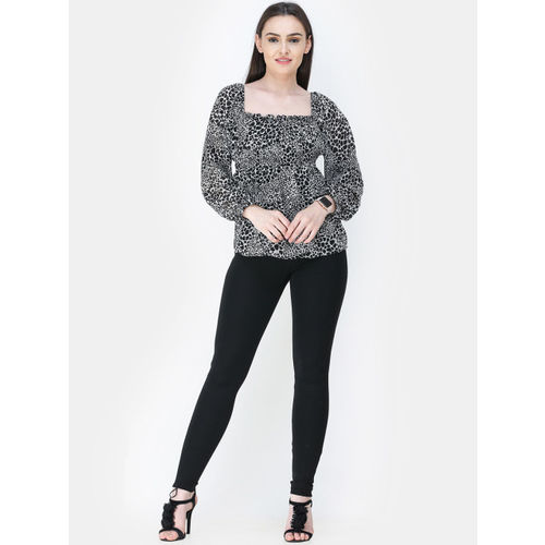 Cation Women Black Printed Empire Top
