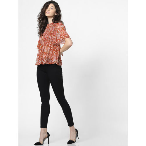 ONLY Women Brown & Off-White Printed Top With Smocking Detail