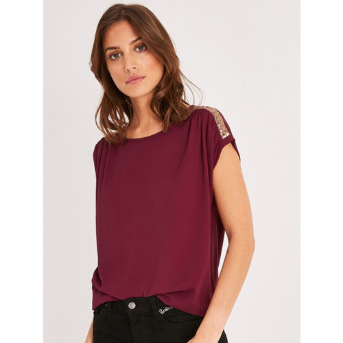 promod Women Burgundy Solid Top With Sequinned Detail