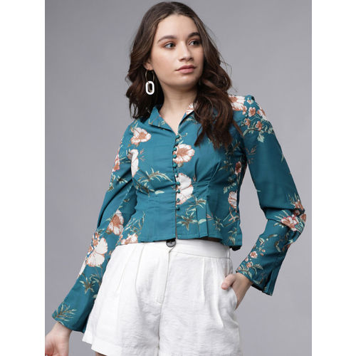 Tokyo Talkies Women Sea Green & Off-White Shirt Style Crop Top