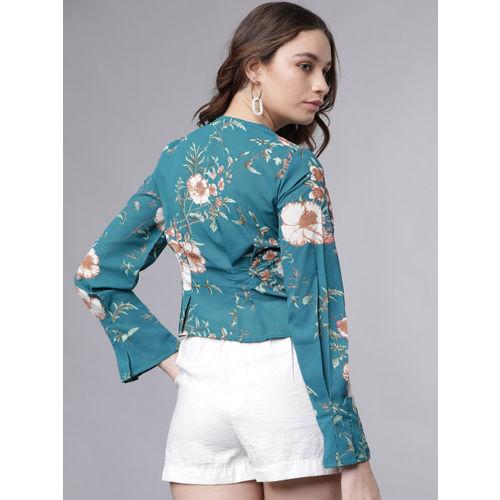 Tokyo Talkies Women Sea Green & Off-White Shirt Style Crop Top