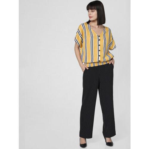 Vero Moda Women Mustard Yellow & Navy Blue Striped Blouson Top