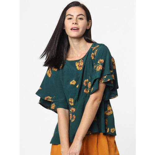 ONLY Women Green & Mustard Yellow Printed A-Line Top