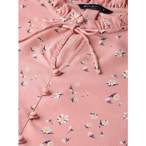 Mast & Harbour Women Dusty Pink & Off-White Printed Top