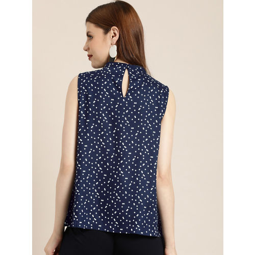 her by invictus Women Navy Blue & White Printed Top