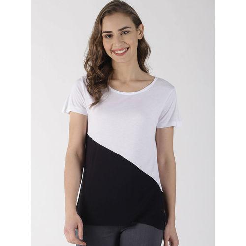 Blue Saint Women Black & White Colourblocked Top