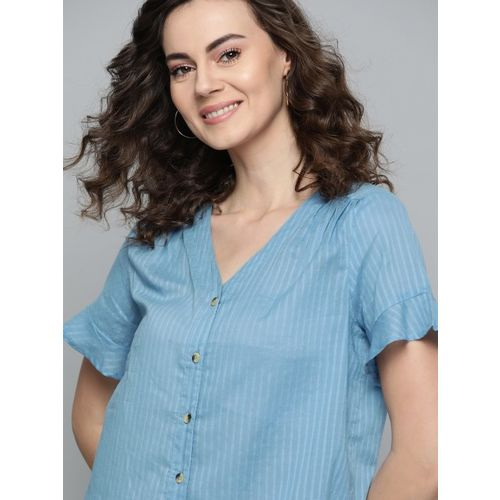 Mast & Harbour Women Blue Self-Striped Top