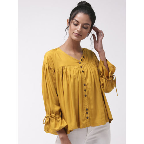 InWeave Women Mustard Yellow Solid A-Line Top