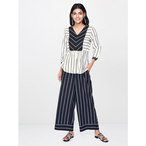 Global Desi Women Off-White & Black Printed A-Line Top