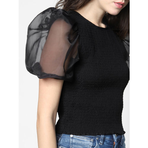 ONLY Women Black Solid Fitted Top With Smocked Detailing