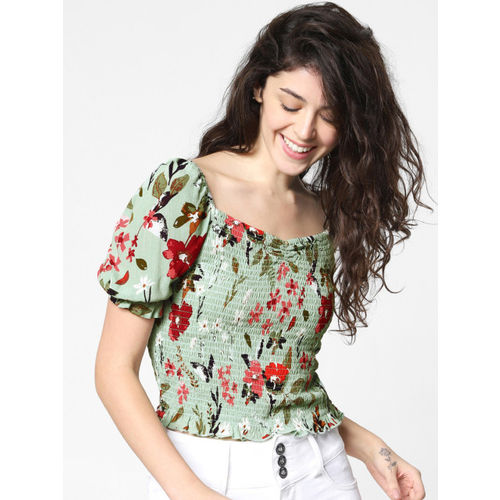 ONLY Women Green & Red Printed Smocked Top