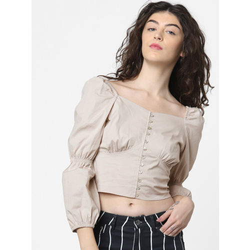 ONLY Women Cream-Coloured Solid Styled Back Top