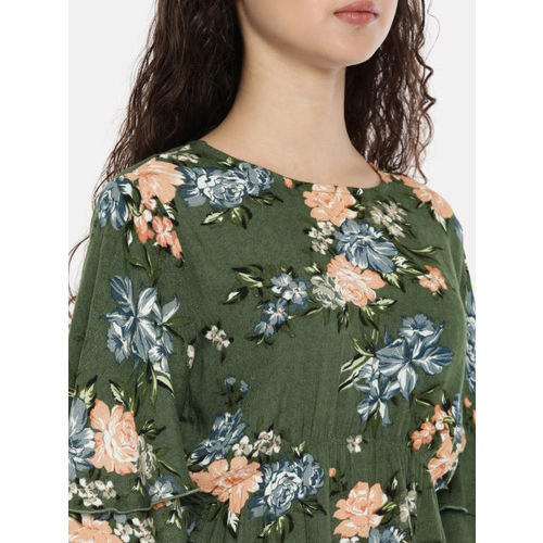 ONLY Women Olive Green Printed Cinched Waist Top