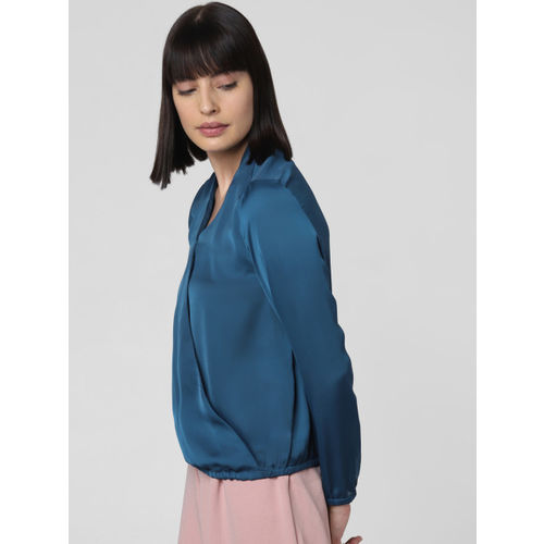 Vero Moda Women Teal Blue Solid Blouson Top