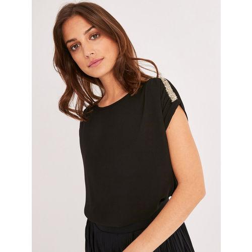 promod Women Black Solid Regular Top