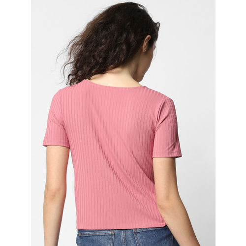 ONLY Women Pink Self-Striped Cropped Wrap Top With Twisted Detail