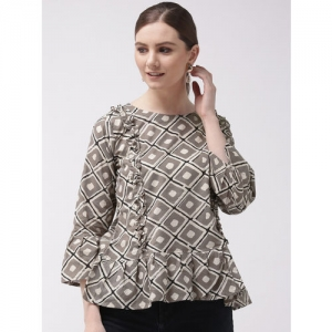 InWeave Women Grey & Off White Printed A-Line Top