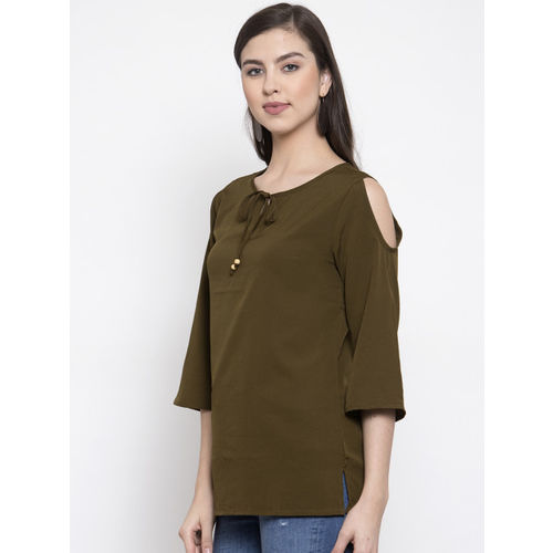 Purple State Women Olive Green Solid Top
