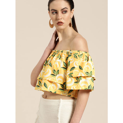 Moda Rapido Women Yellow & Green Printed Crop Bardot Top
