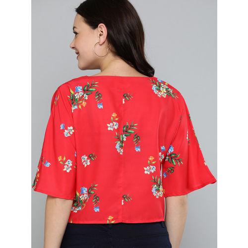 Mast & Harbour Women Red Printed Waist Tie-Up Crop Top