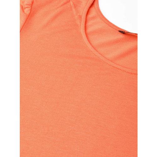 DressBerry Women Coral Orange Solid Top