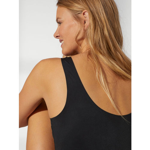 H&M Women Black Solid Smoothing Microfibre Vest Top