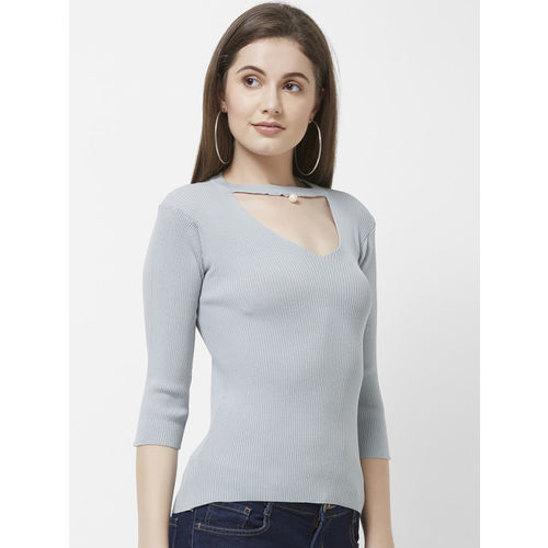 109F Women Grey Self Design Top