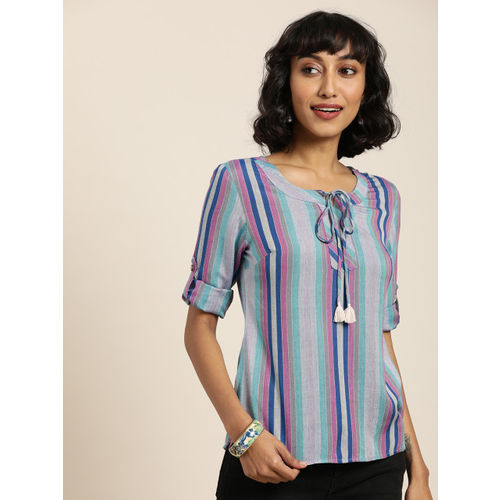 Taavi Women Multi-Coloured Striped Woven Legacy Top With Keyhole Neck