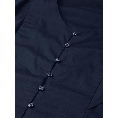 Mast & Harbour Women Navy Blue Solid Top