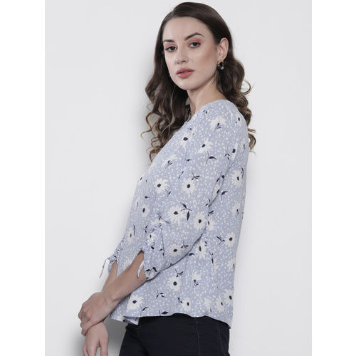 DOROTHY PERKINS Women Blue & White Printed A-Line Top