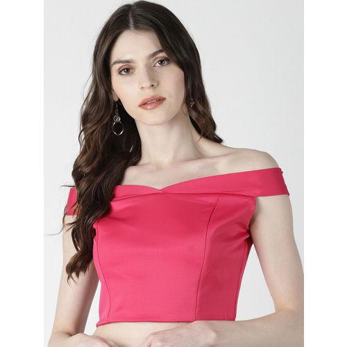 AARA Women Pink Solid Bardot Top