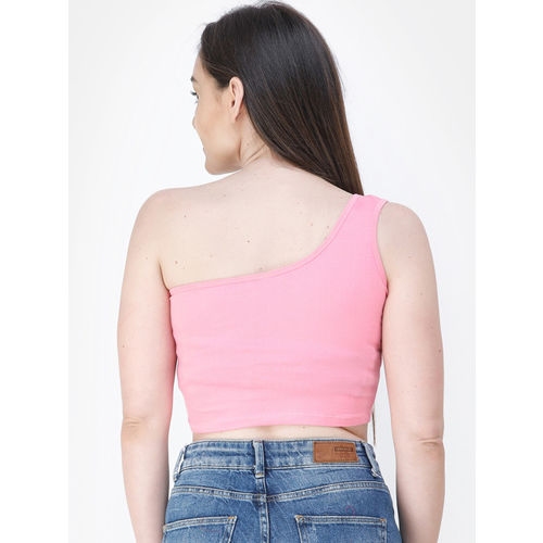 Cation Women Pink Solid Knitted Crop Top