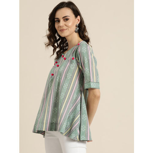 Sangria Women Green & Pink Striped A-Line Top