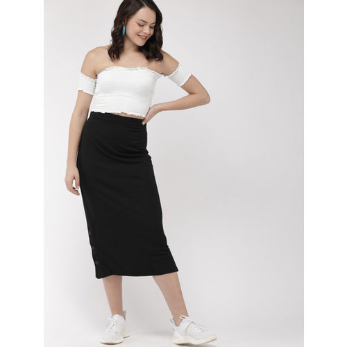 FOREVER 21 Women White Solid Crop Top With Smocking Detail