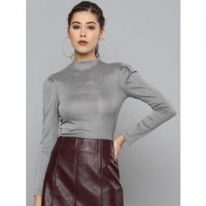 VividArtsy Women Silver Shimmer Fitted Top