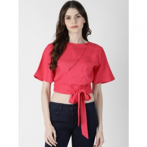 AARA Women Pink Solid Styled Back Crop Top