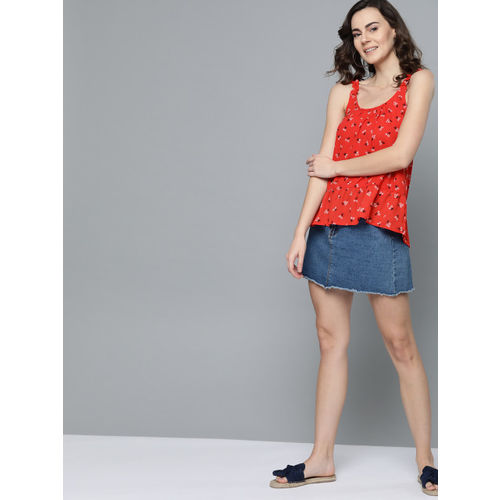 Mast & Harbour Women Red & Black Printed A-Line Top
