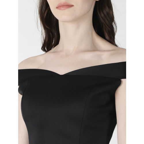 AARA Women Black Solid Bardot Top
