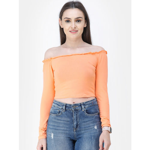 Cation Women Orange Solid Bardot Crop Top