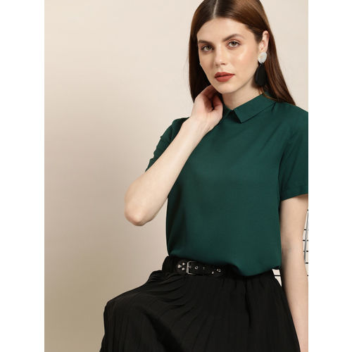 her by invictus Women Green Solid Styled Back Top
