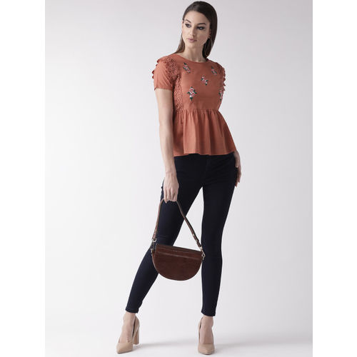 plusS Women Rust Brown Embroidered Detail A-Line Top